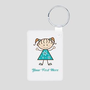 Teal Stick Figure Girl Aluminum Photo Keychain