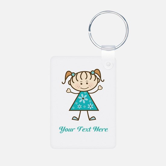 Teal Stick Figure Girl Keychains