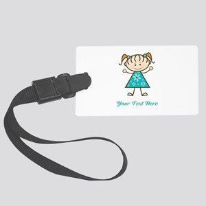 Teal Stick Figure Girl Large Luggage Tag