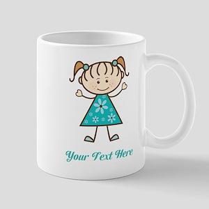 Teal Stick Figure Girl Mug