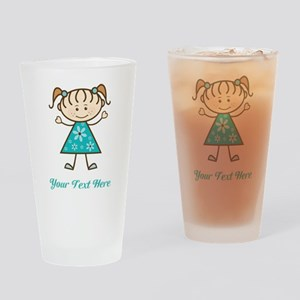 Teal Stick Figure Girl Drinking Glass