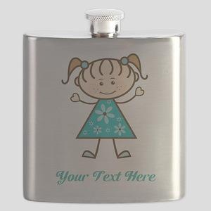 Teal Stick Figure Girl Flask