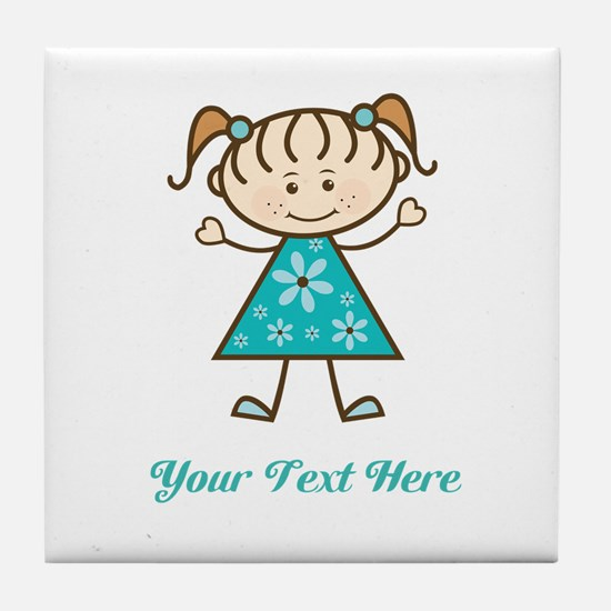 Teal Stick Figure Girl Tile Coaster