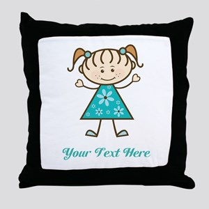 Teal Stick Figure Girl Throw Pillow