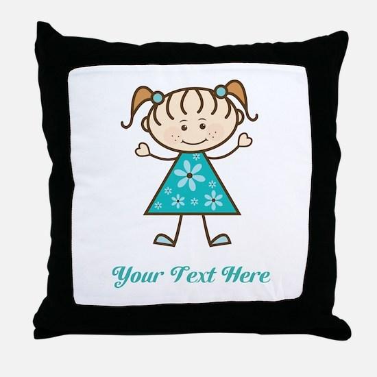 Teal Stick Figure Girl Throw Pillow