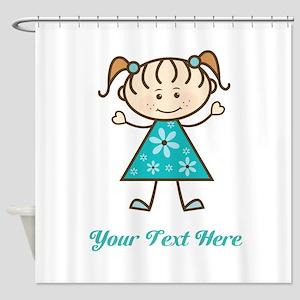 Teal Stick Figure Girl Shower Curtain