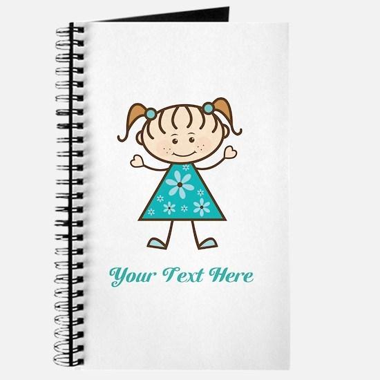 Teal Stick Figure Girl Journal