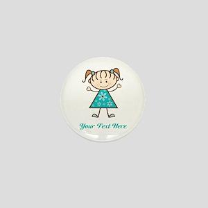 Teal Stick Figure Girl Mini Button