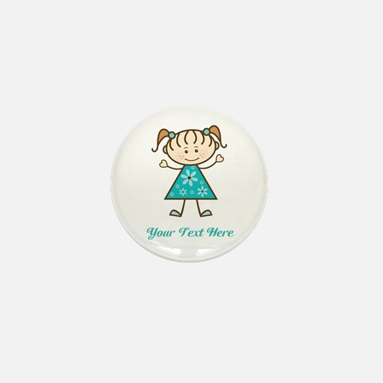Teal Stick Figure Girl Mini Button