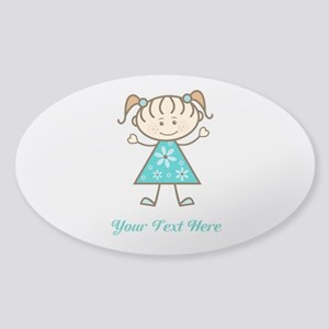 Teal Stick Figure Girl Sticker (Oval)