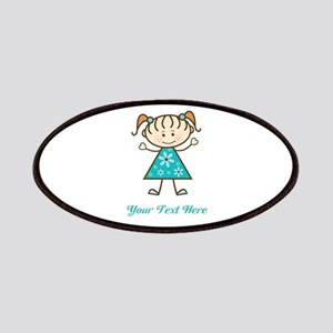 Teal Stick Figure Girl Patches