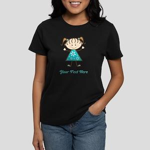 Teal Stick Figure Girl Women's Dark T-Shirt