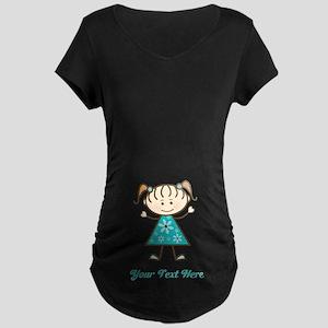 Teal Stick Figure Girl Maternity Dark T-Shirt