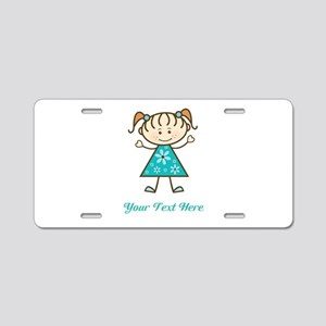 Teal Stick Figure Girl Aluminum License Plate