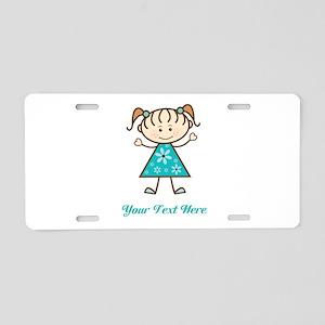 Teal Stick Figure Girl Aluminum License Plate