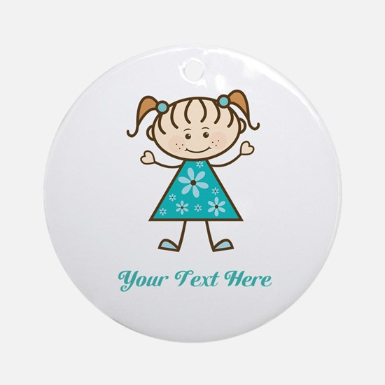 Teal Stick Figure Girl Ornament (Round)