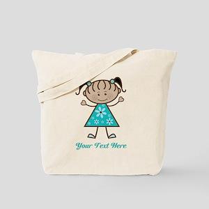 Teal Stick Figure Ethnic Girl Tote Bag