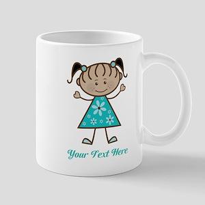 Teal Stick Figure Ethnic Girl Mug