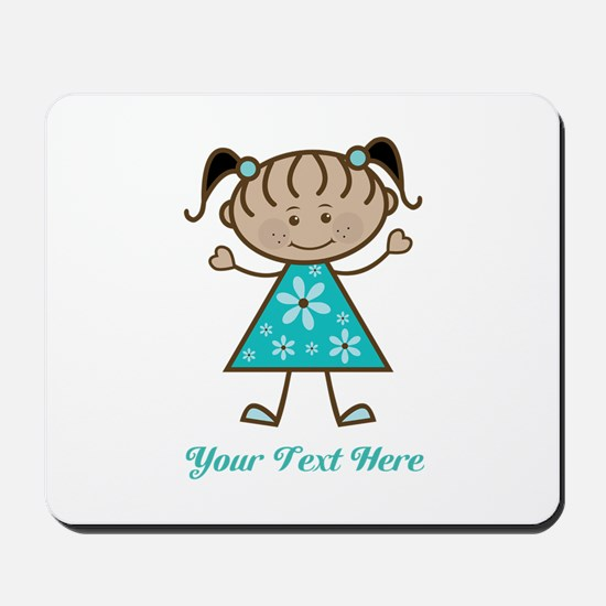 Teal Stick Figure Ethnic Girl Mousepad