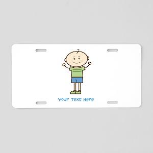 Stick Figure Boy Aluminum License Plate