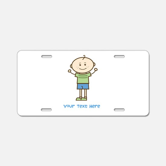 Stick Figure Boy Aluminum License Plate