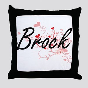 Brock Artistic Design with Hearts Throw Pillow