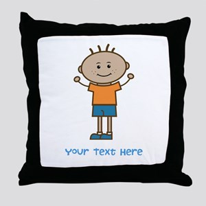 Stick Figure Boy Throw Pillow