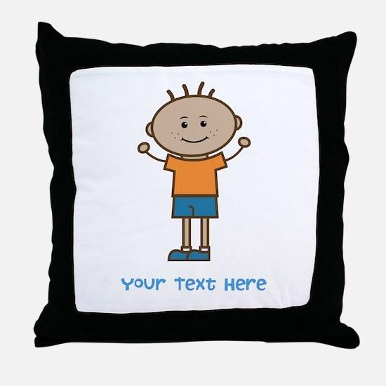 Stick Figure Boy Throw Pillow