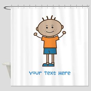 Stick Figure Boy Shower Curtain