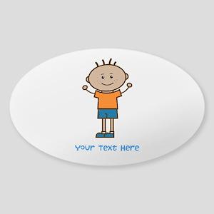 Stick Figure Boy Sticker (Oval)