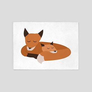 Fox Family 5'x7'Area Rug