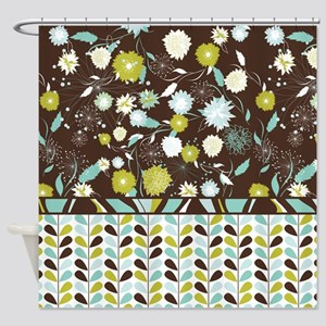 Retro Floral Pattern Shower Curtain