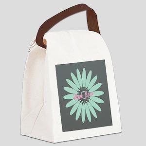 Cute Mint Floral Canvas Lunch Bag