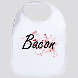 Bacon Artistic Design with Hearts Bib