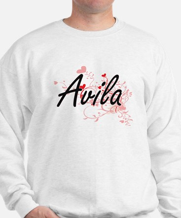 Avila Artistic Design with Hearts Sweatshirt