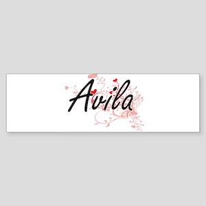 Avila Artistic Design with Hearts Bumper Sticker