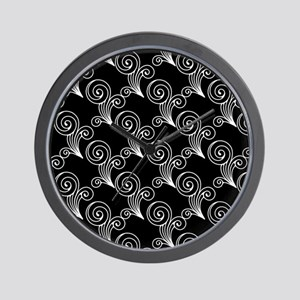 White Swirls on Black Wall Clock