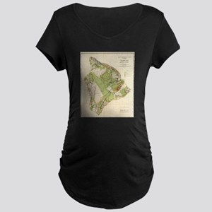 Vintage Map of Hawaii Island (19 Maternity T-Shirt