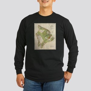 Vintage Map of Hawaii Island ( Long Sleeve T-Shirt