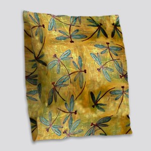 Dragonfly Haze Cloud Burlap Throw Pillow