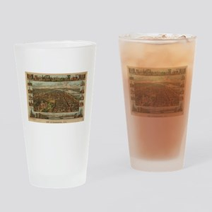 Vintage Pictorial Map of Harrisburg Drinking Glass