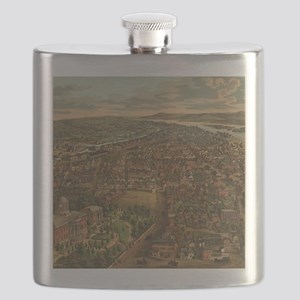 Vintage Pictorial Map of Harrisburg PA (1855 Flask