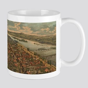 Vintage Pictorial Map of Harrisburg PA (1855) Mugs