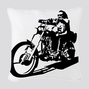 moto biker anarchy Woven Throw Pillow