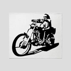 moto biker anarchy Throw Blanket