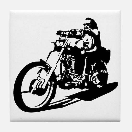moto biker anarchy Tile Coaster