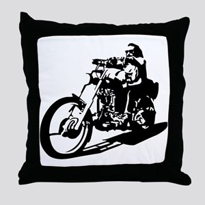 moto biker anarchy Throw Pillow