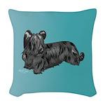 Skye Terrier, Black Woven Throw Pillow
