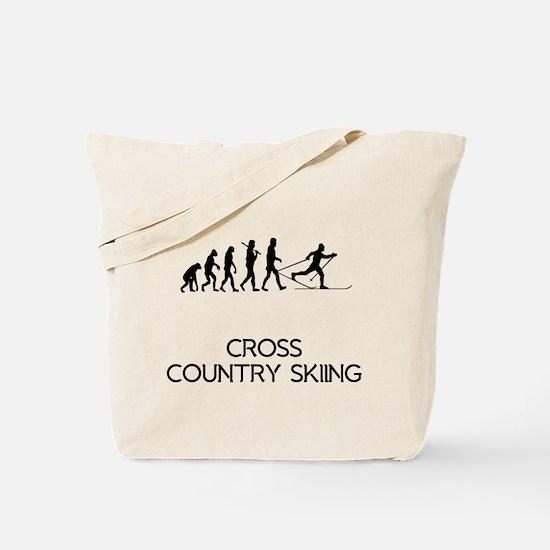Cross Country Skiing Evolution Tote Bag