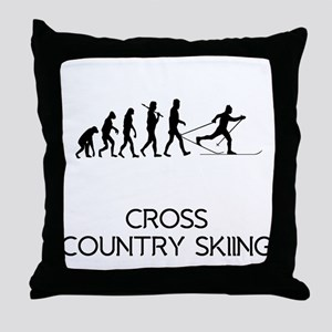 Cross Country Skiing Evolution Throw Pillow